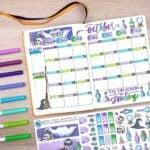 An elaborate Halloween bullet journal spread