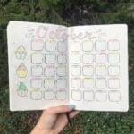 A cupcake themed bullet journal calendar