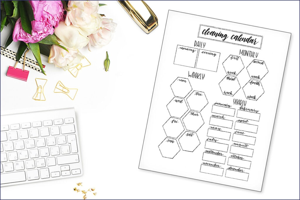 Cleaning Calendar Printable on Desk