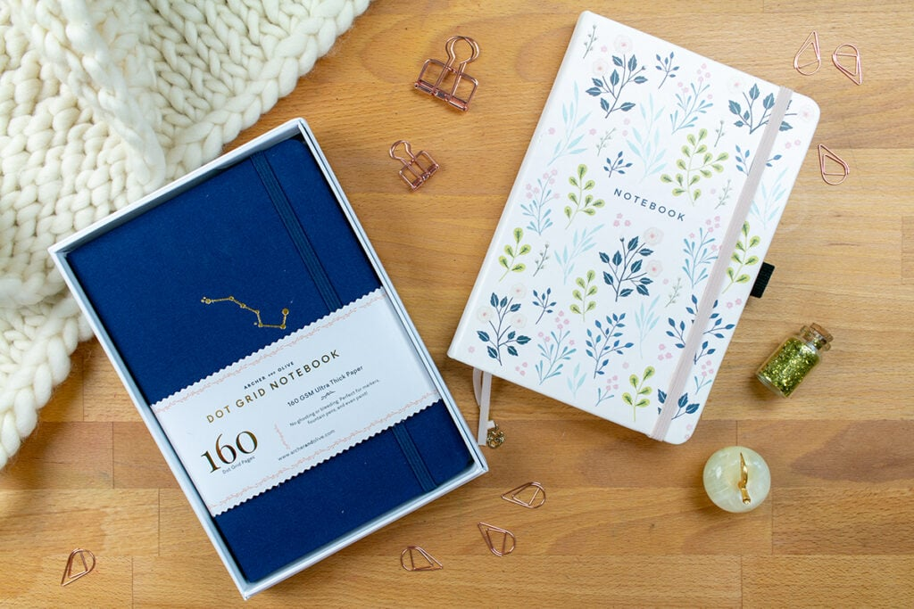 Two journals from the Archer & Olive Dot Grid Journal Review