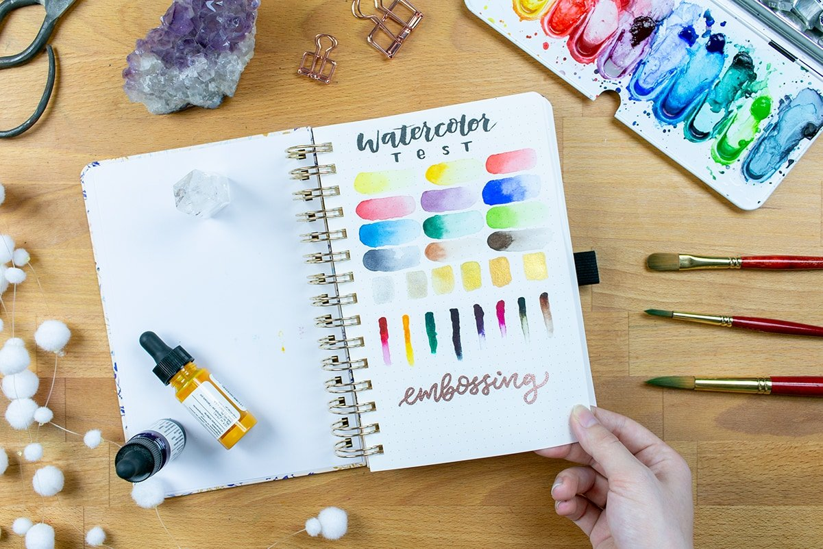 Archer & Olive Watercolor Dot Grid Journal Review of paper thickness with watercolor test