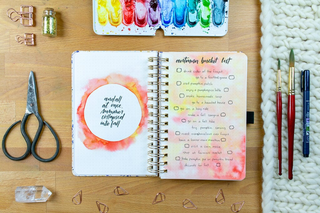 Archer & Olive Watercolor Dot Grid Journal Autumn Bucket List