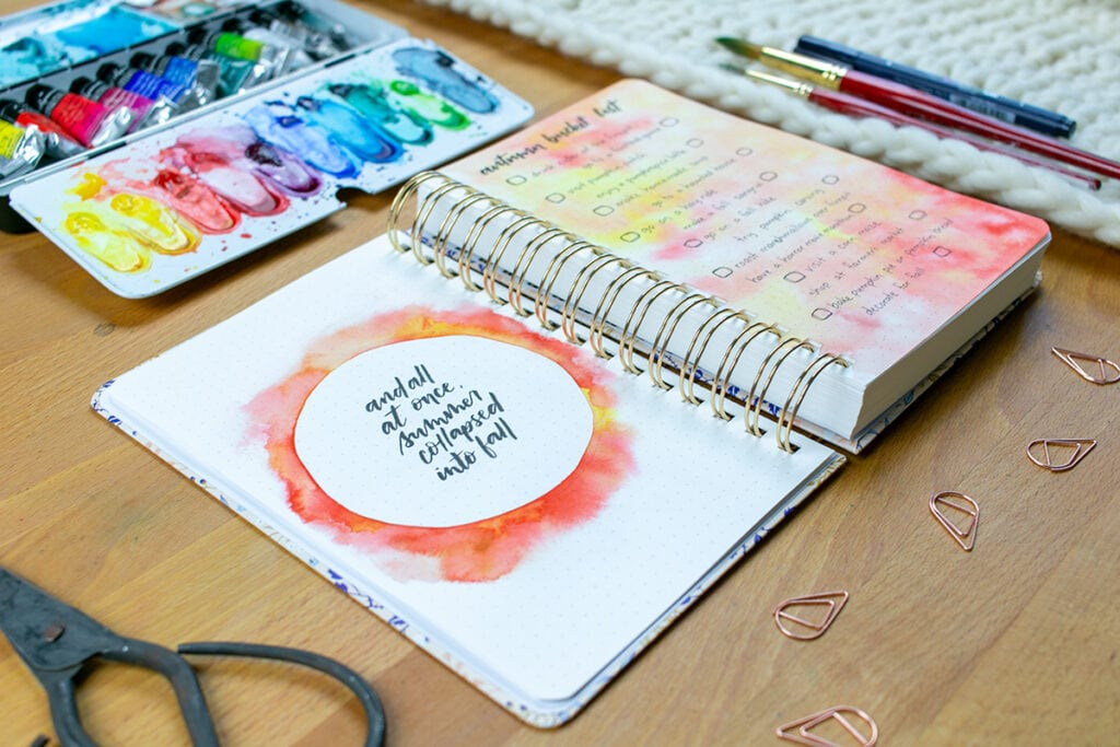Archer & Olive Watercolor Dot Grid Journal with autumn bucket list and lettering