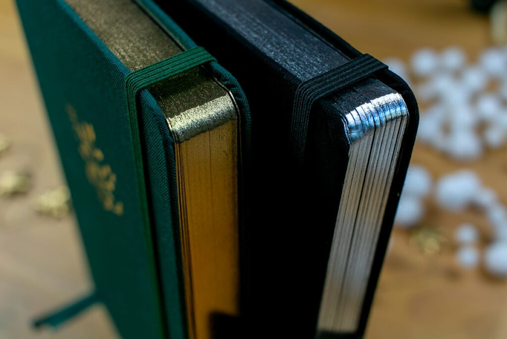 Up close shot of Archer & Olive Blackout! Journals' Gilded edges
