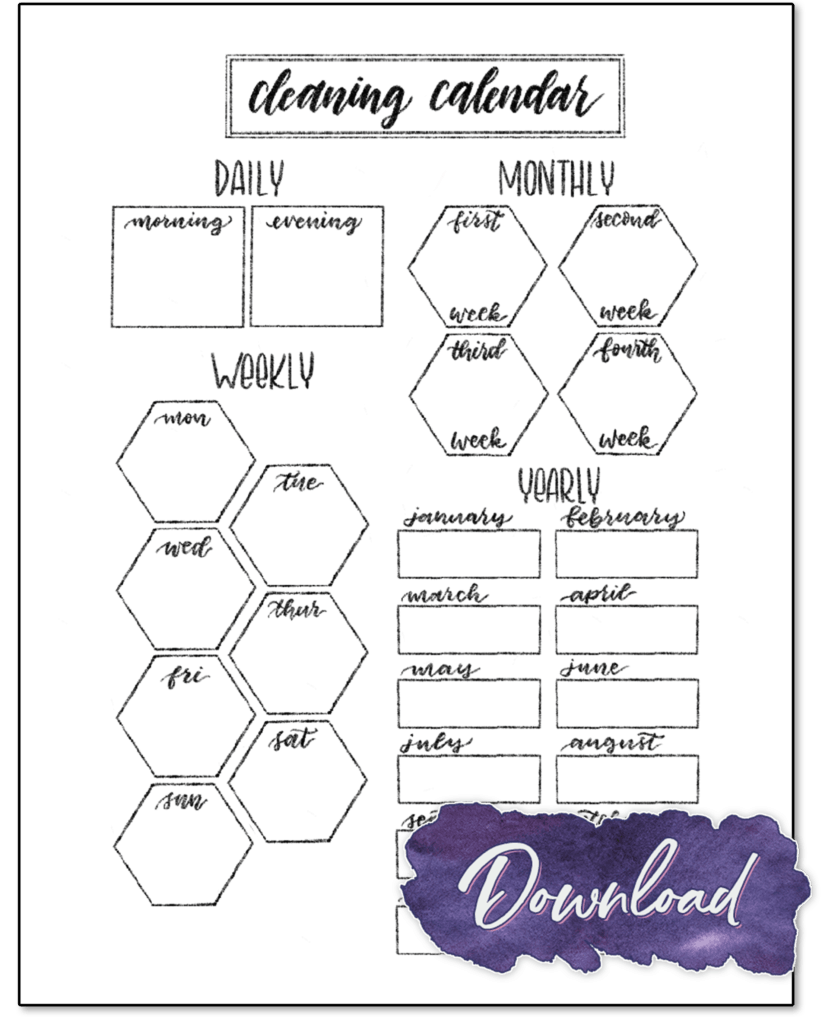 The cleaning calendar printable, with entries for daily, weekly, monthly, and yearly tasks.
