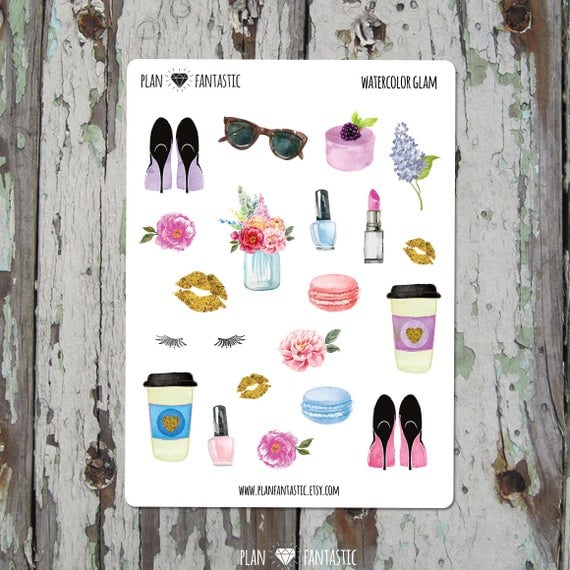 Watercolor Glam Planner Stickers