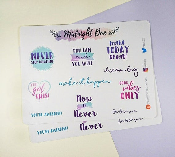 Colourful Positive Quote Planner Stickers
