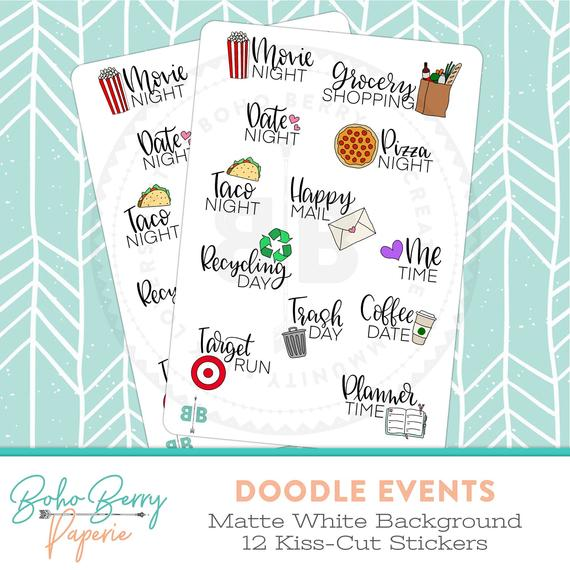 Doodle Events Planner Stickers