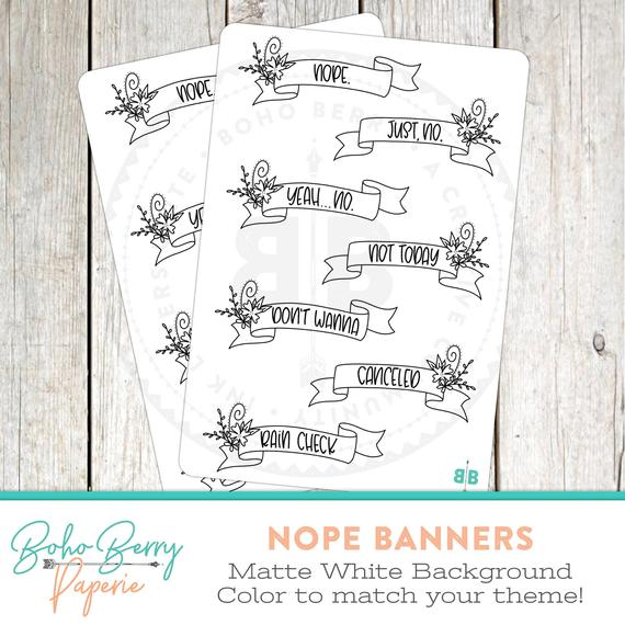 Nope Banner Planner Stickers