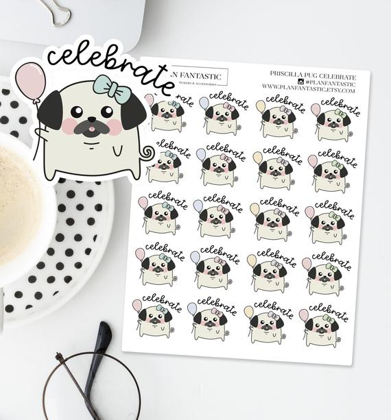 Celebrate Pug Planner Stickers