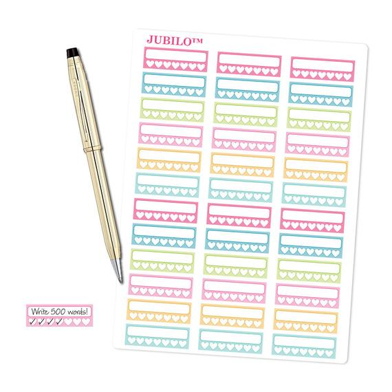 Pastel Heart Habit Tracker Stickers