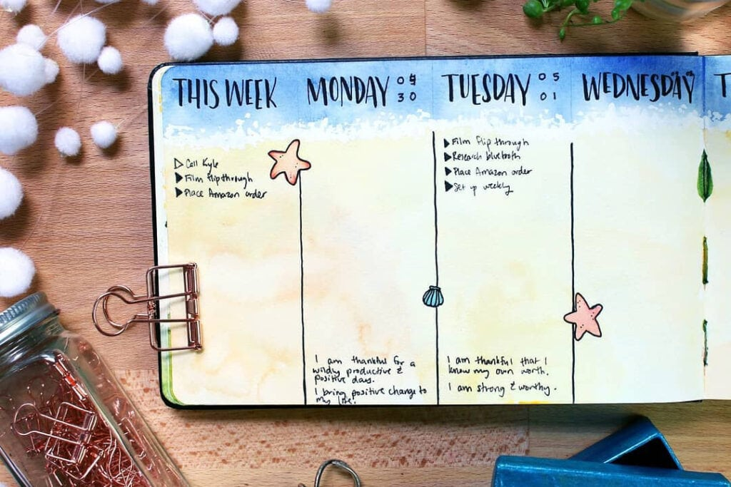 Bullet Journal Daily Spread Example