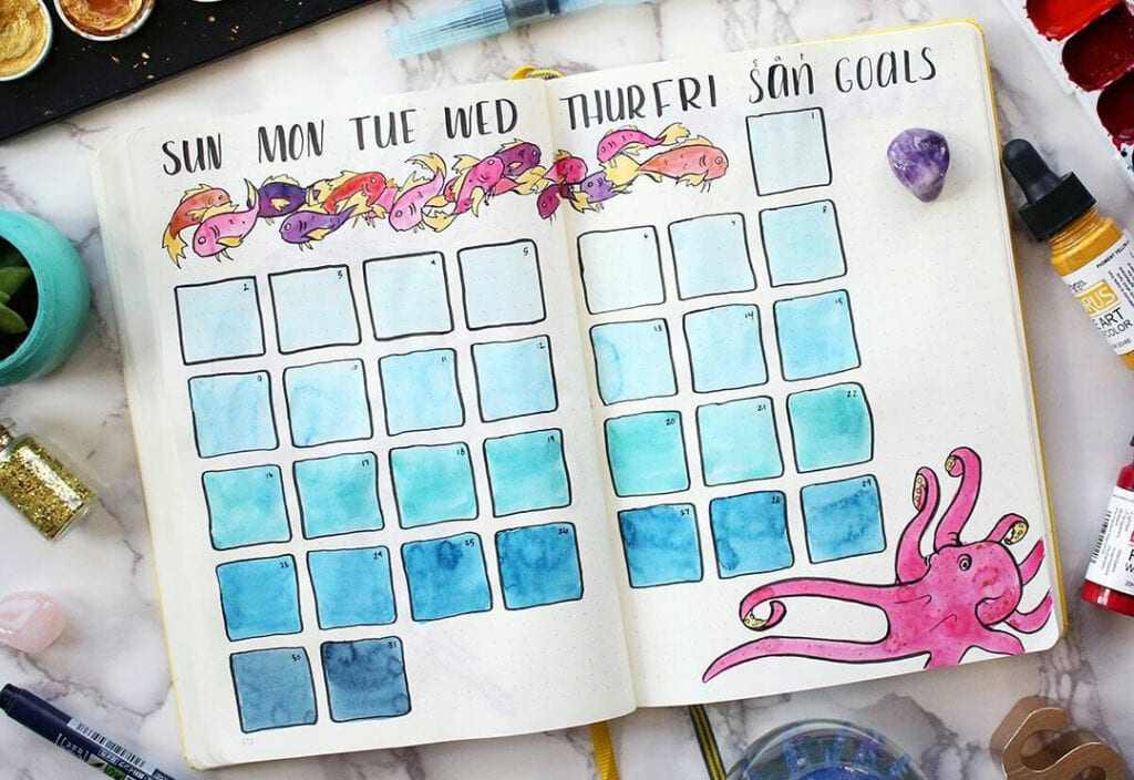 A monthly spread open on a desk