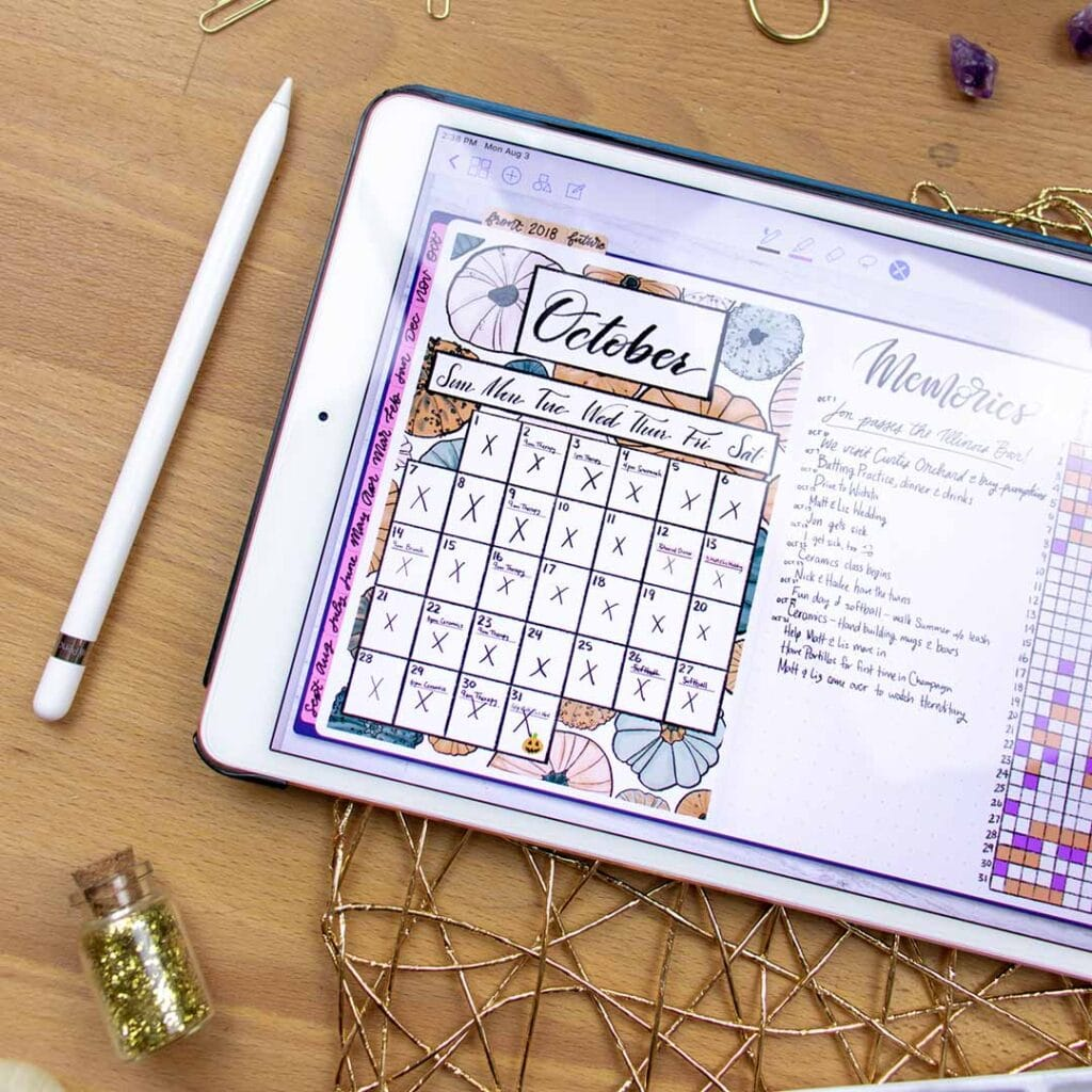 October bullet journal spread on a tablet
