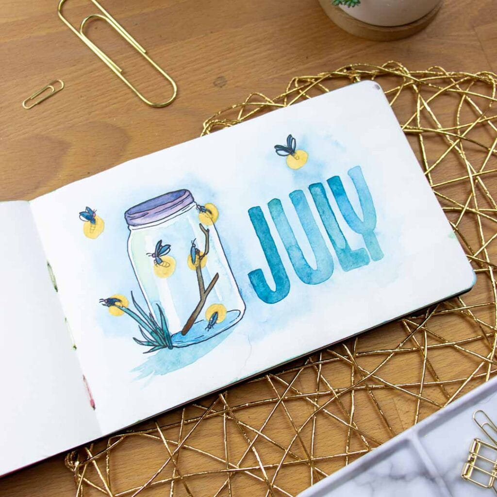 drawing of jar with fireflies and July in blue