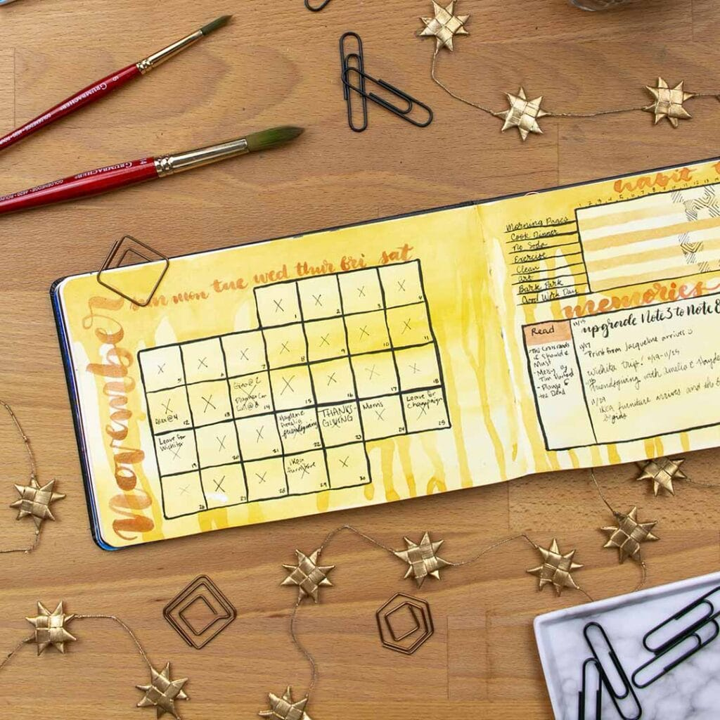 yellow drawn November calendar in a bullet journal