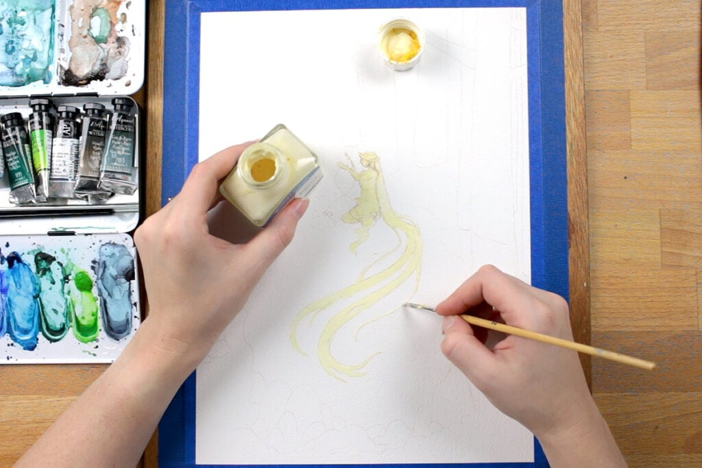Applying masking fluid to the painting