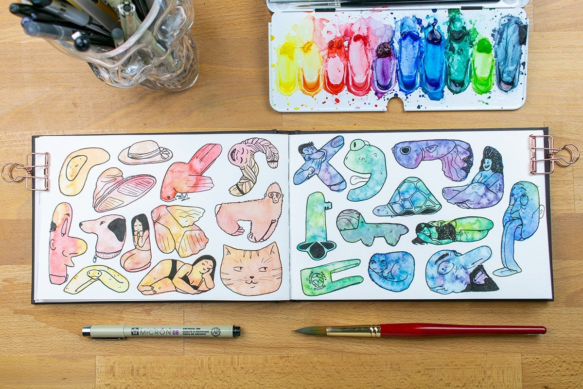 Both pages of warm and cool watercolor doodles.