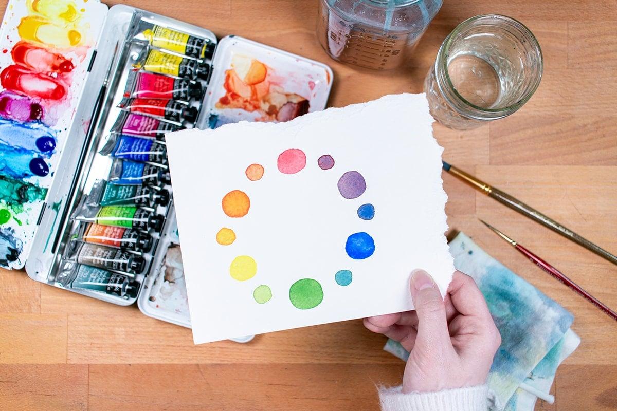 Photo of watercolor color wheel
