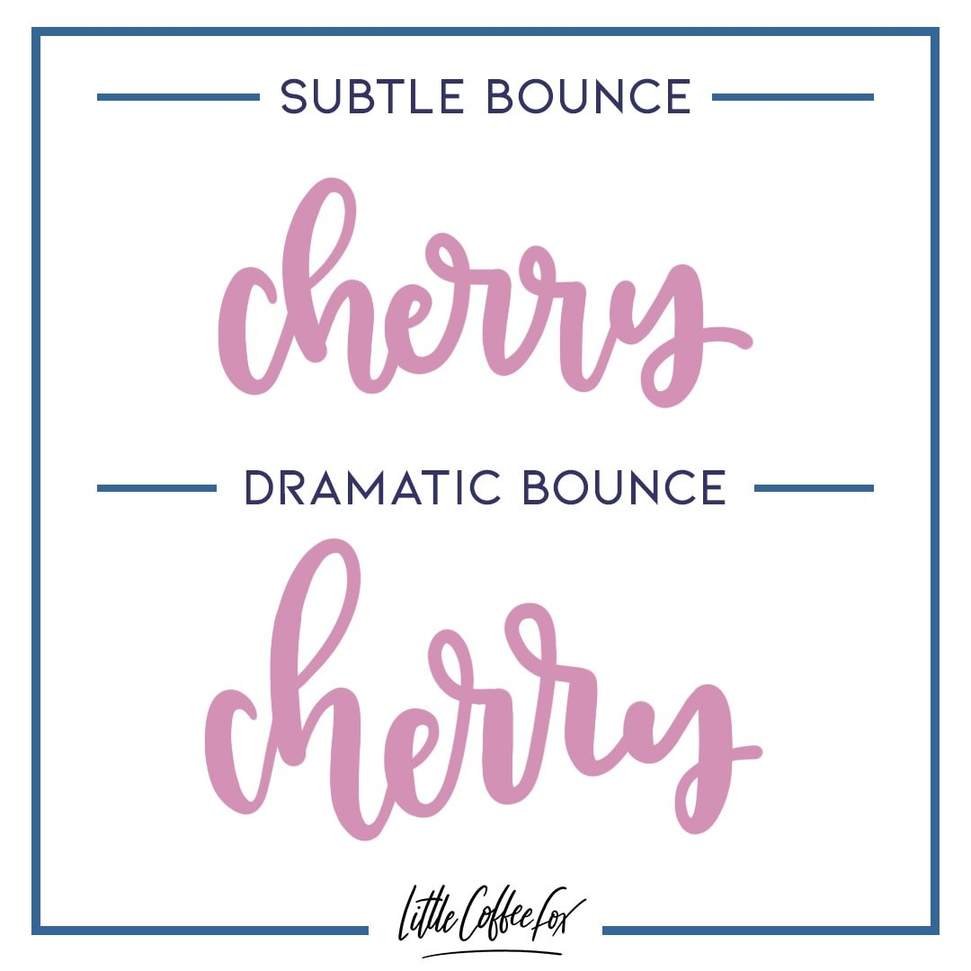 subtle vs dramatic bounce lettering illustration