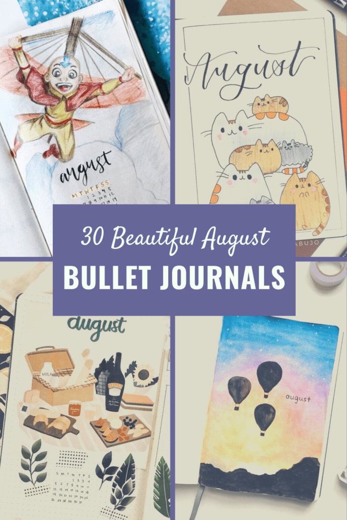 August bullet journal cover photo and pin