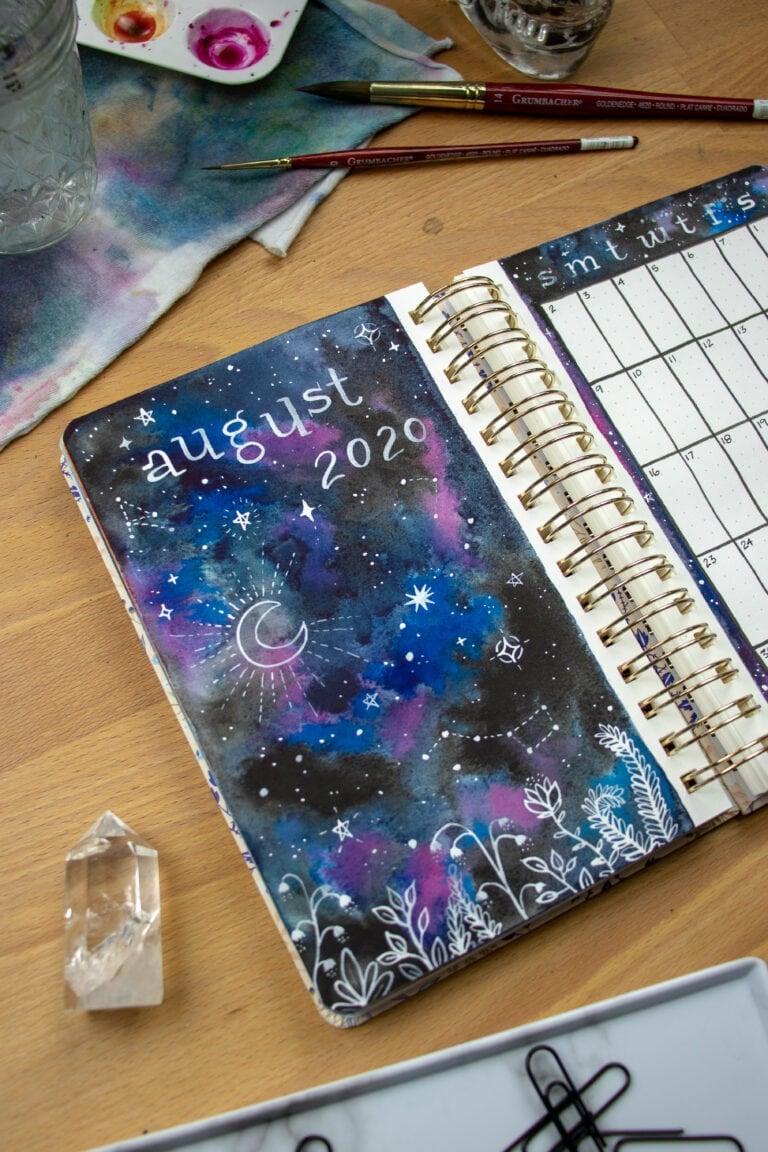 Whimsical Night Sky Illustration — Bullet Journal Setup