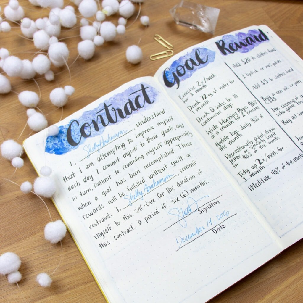 A closeup of a 'Contract' bullet journal spread. The contract is an agreement to achieve the goals on the next page within the next six months.