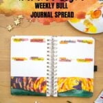 open journal with autumn light weekly spread with text overlay