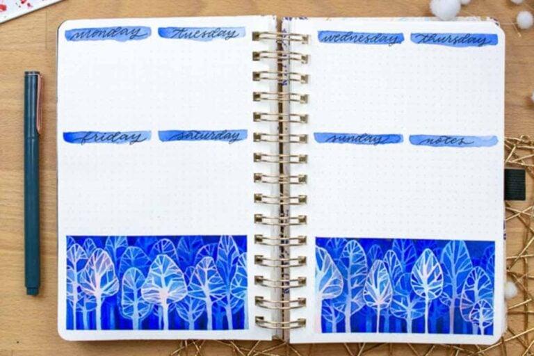 Fantastical Blue Forest — Bullet Journal Set Up