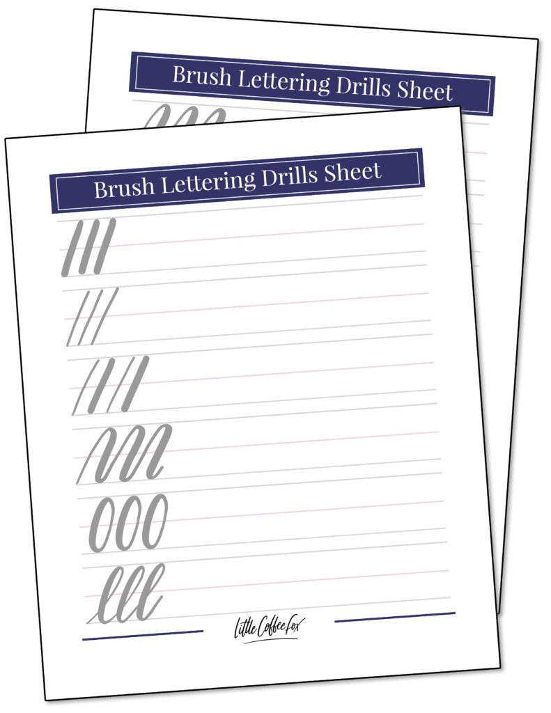 Brush Lettering Drills Sheet