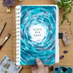 Goodbye 2020 page with blue watercolor swirls in my 2021 bullet journal setup