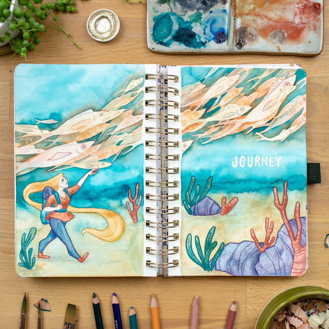 Watercolor illustration of girl walking underwater with school of fish swimming overhead