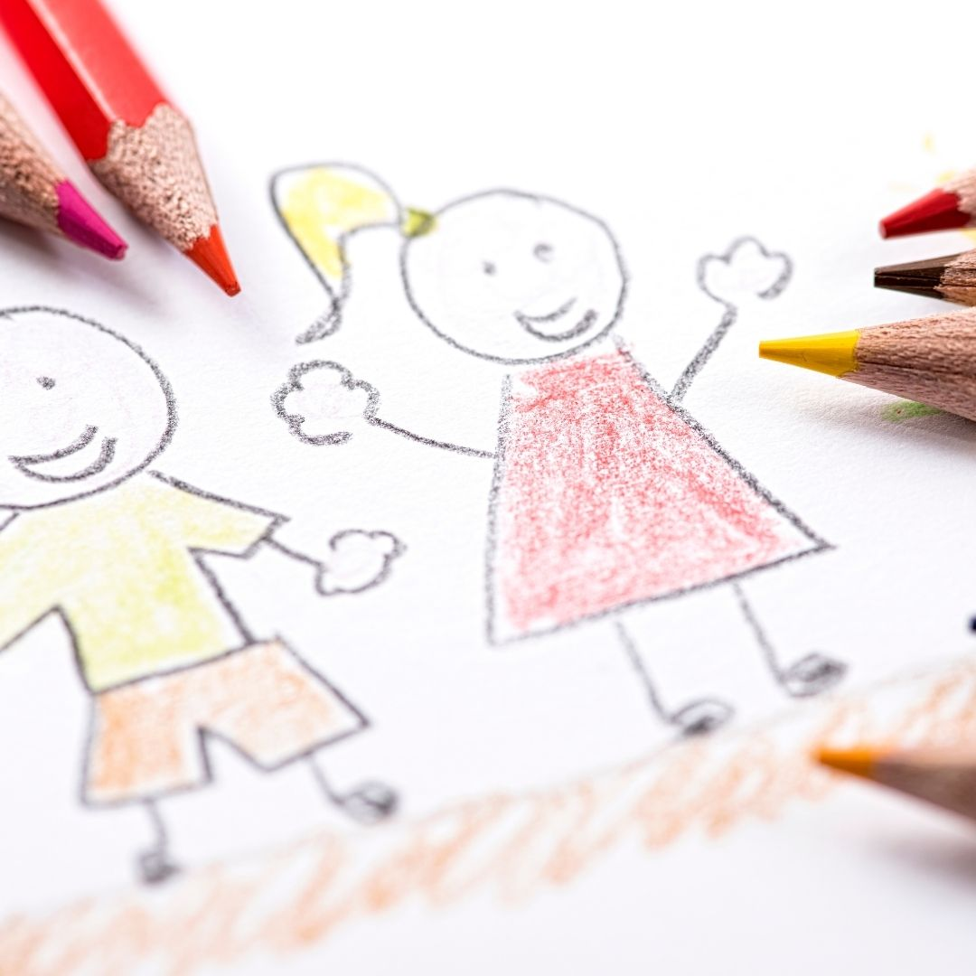 stick figure drawing of boy and girl