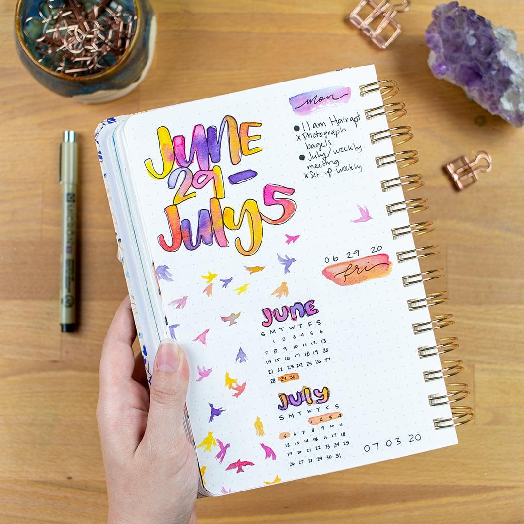 bullet journal page with Sakura Pigma Micron pen