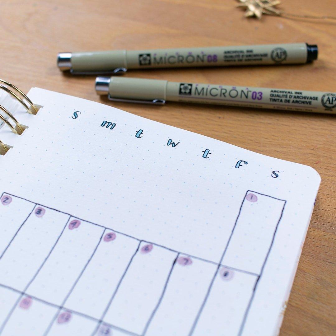 bullet journal page with 2 Sakura Pigma Mircron pens