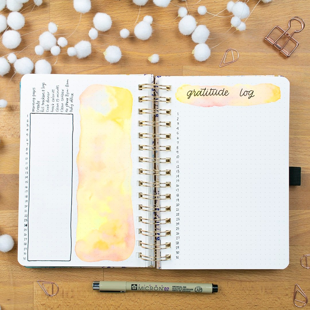 gratitude log pages in a bullet journal