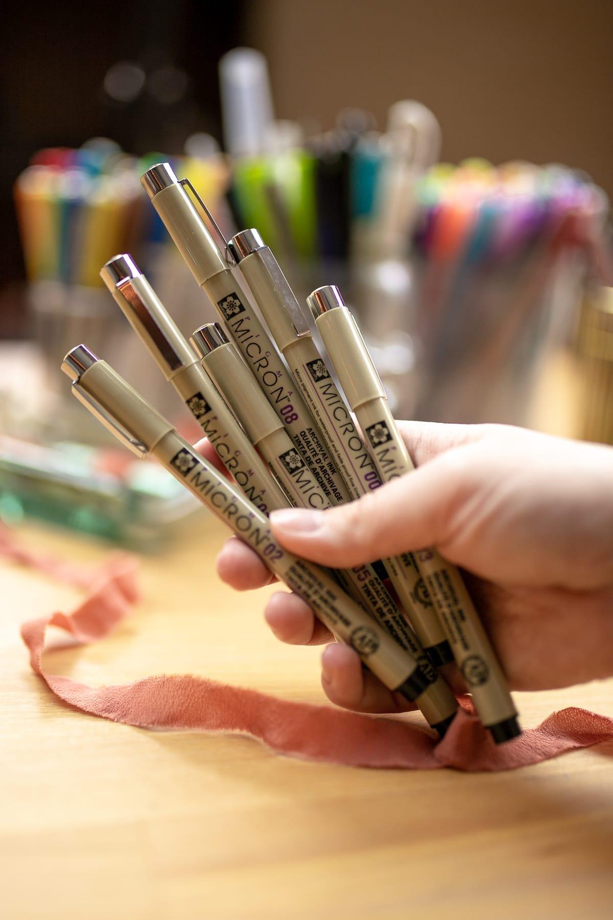 Hand holding set of Sakura Pigma Micron drawing pens