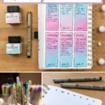 image collage of sakura pigma pens used in a bullet journal with text overlay