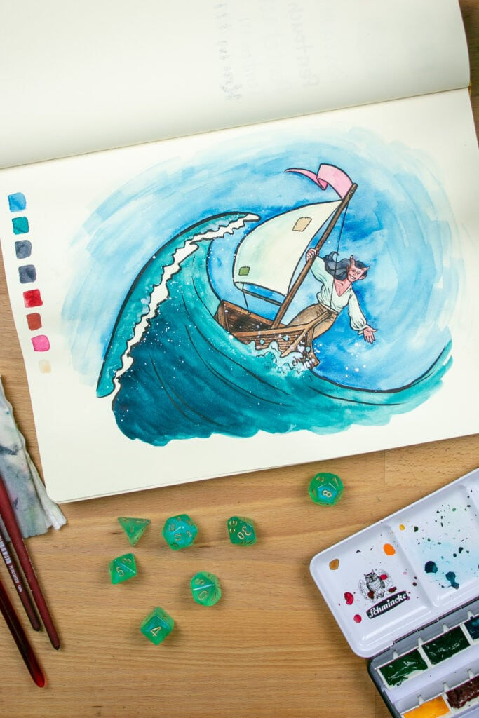 Illustration of a demon piloting a boat on a giant wave.