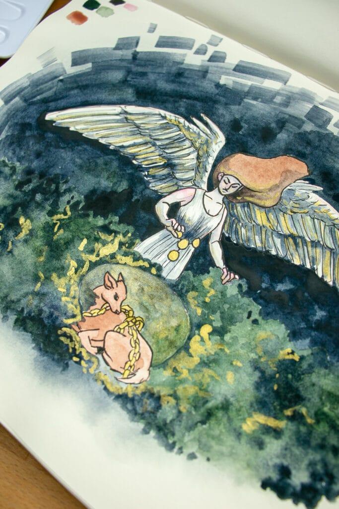 Detail shot of illustration.